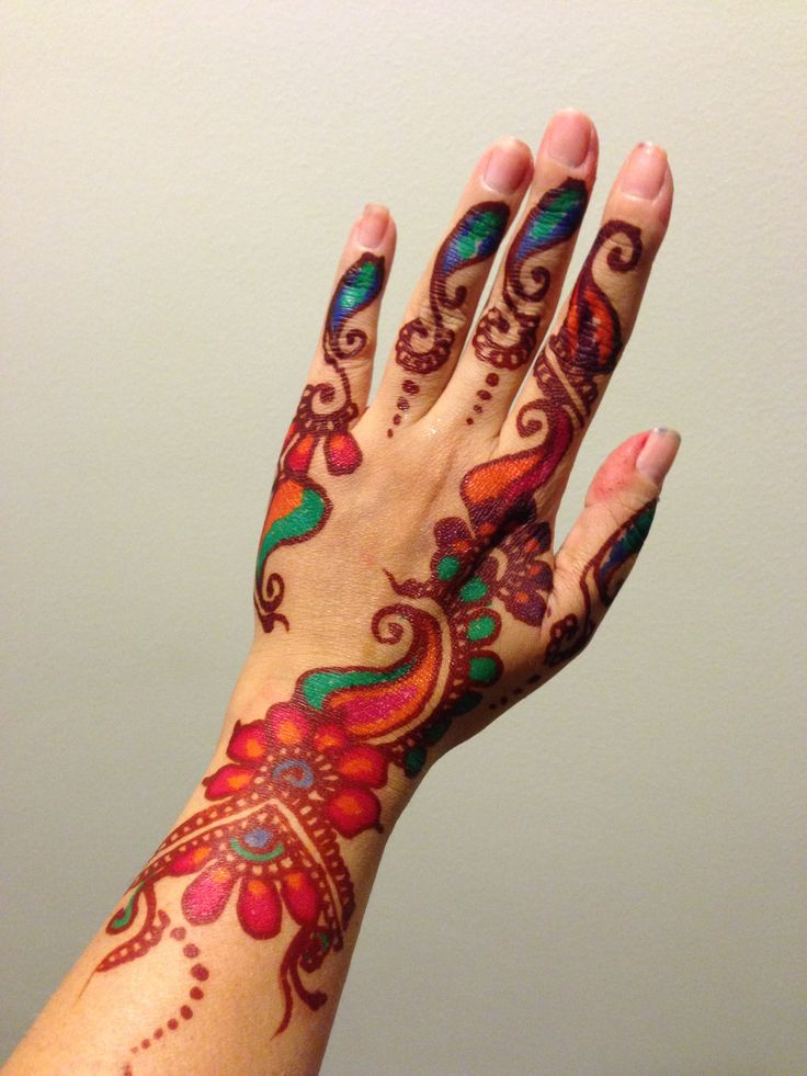Henna Tattoo Color Brown: Stunning Colorful Henna Design For Full Hands