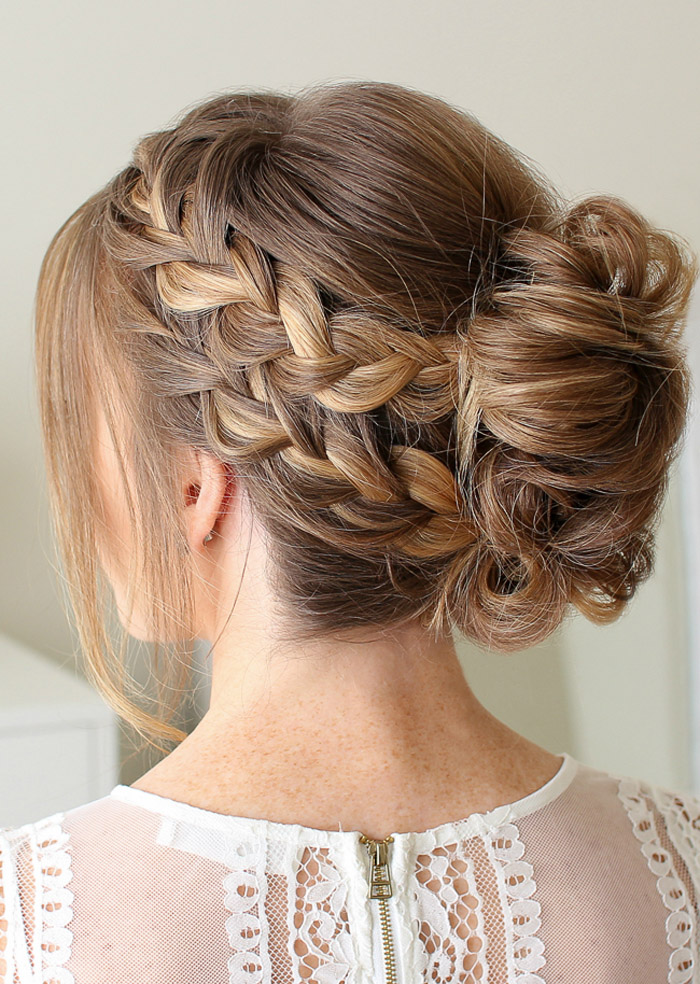 Bun hairstyle for long hair for wedding