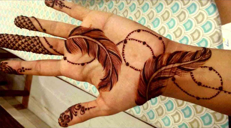 15 Beautiful Feather Henna Designs 2018 - Mehndi - Crayon