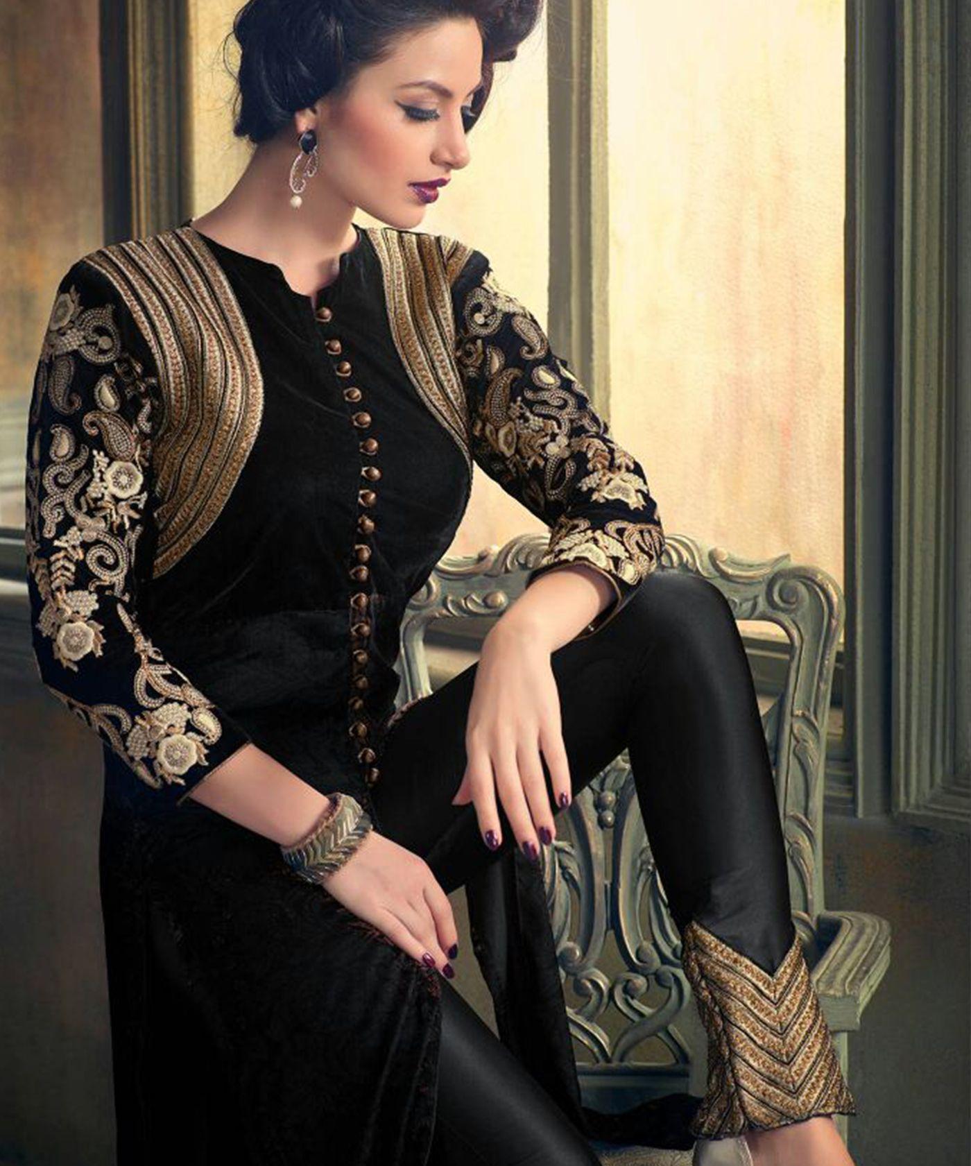 986429aa65 25 Beautiful Black Shalwar Kameez Designs for Girls - Dresses - Crayon