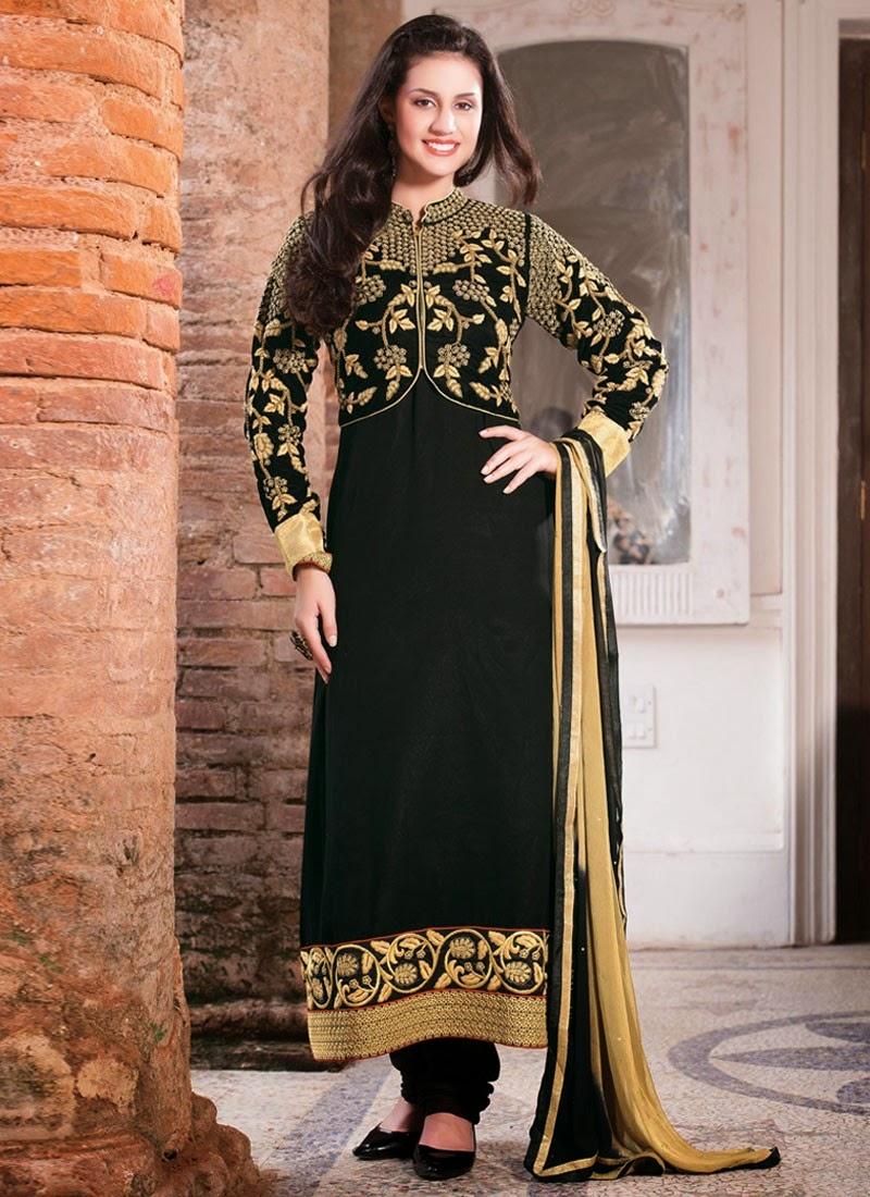Shadow Embroidery Designs Black Salwar Kameez Crayon