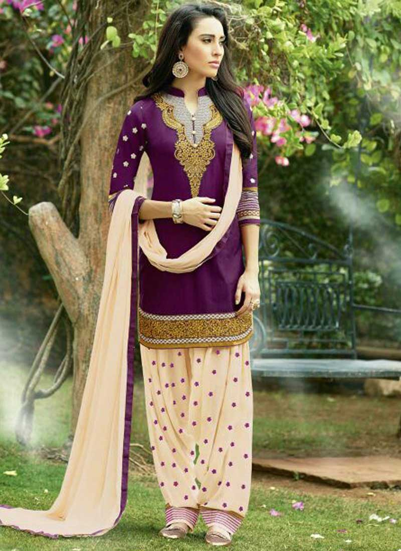 422879eee8 Purple Cotton Embroidered Salwar Suit - Crayon