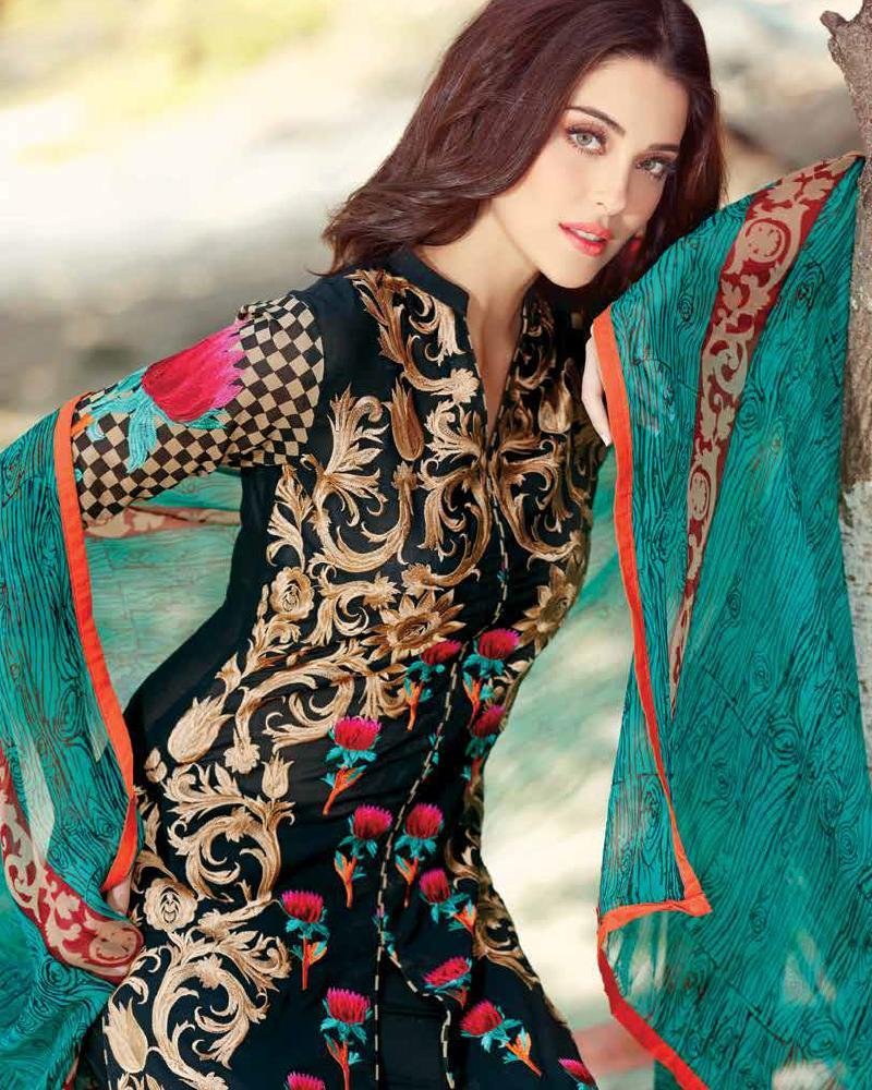 Fashion week Lawn Embroidered dresses for pakistani girls for woman