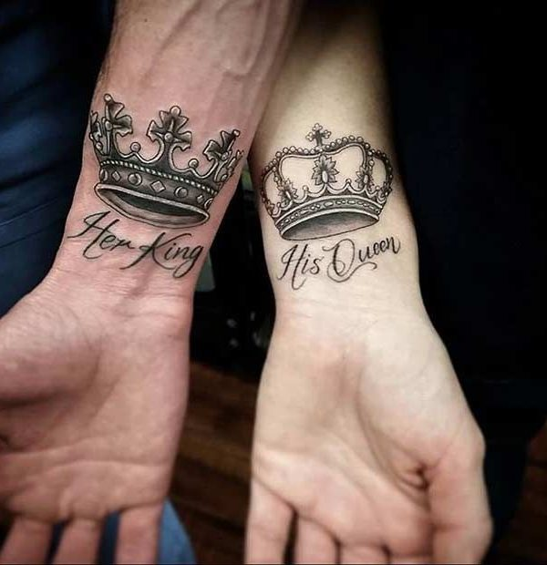 King And Queen Couple Tattoo Design Meaningful Couple Tattoos