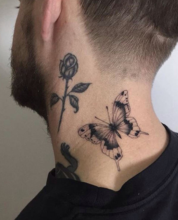 Butterfly Neck Tattoo: Butterfly Arm Men Tattoo Design