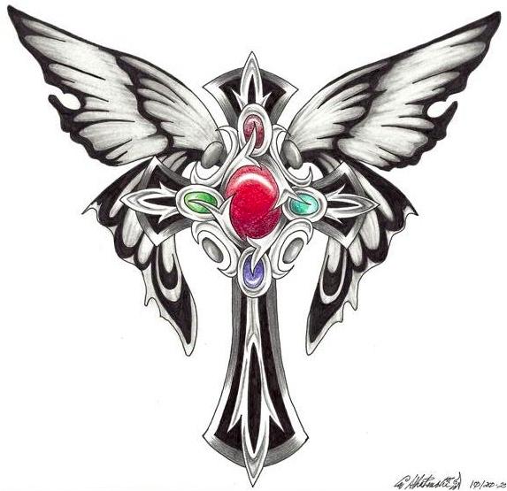 Enamoring Butterfly Cross Tattoo Design Butterfly Cross Tattoos