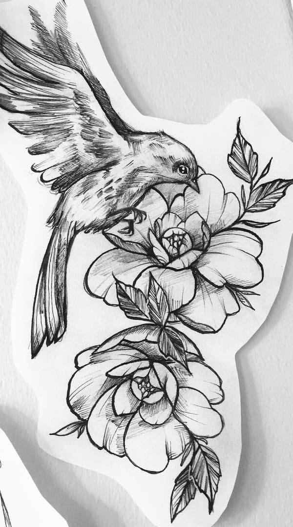 Flower With a Bird Tattoo Design