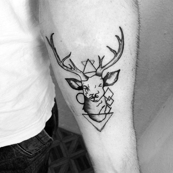 Scenic Easy Deer Tattoo Design