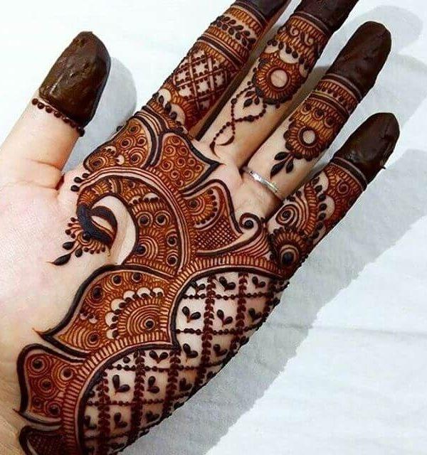 Checkered Pattern Front Hand Mehndi Design Front Hand Eid Mehndi