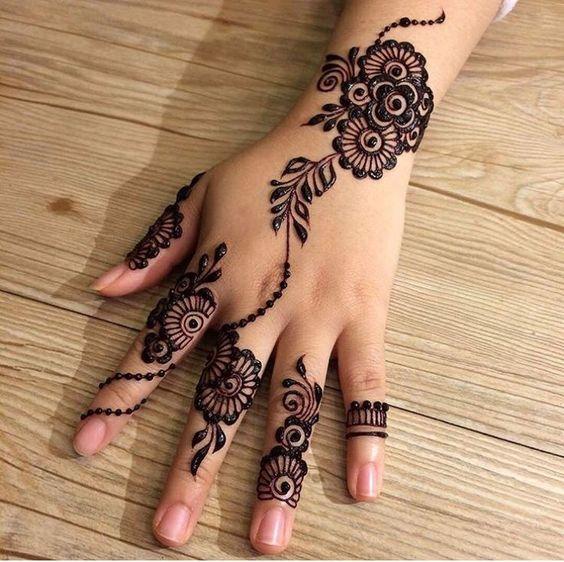 arabic simple mehndi designs for hands backside