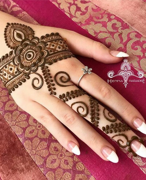 Ideal Easy Arabic Mehndi Designs for right backhand and